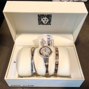 Anne Klein Two Tone Watch and Bangle Set